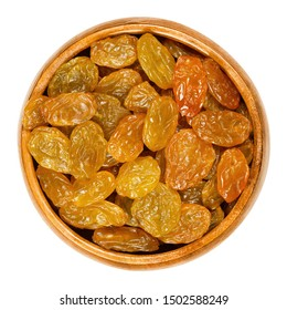 Sultanas, golden raisins, in wooden bowl. Big, golden-colored, dried grapes are eaten raw or used in cooking and baking. Close up, from above. Isolated macro food photo.