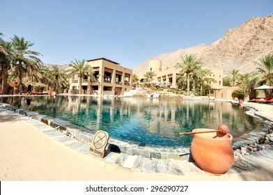Sultanate of Oman - March 25,2013 - Six Senses Zighy Bay Mountain Resort, swimming pool area. Wonderful place to stay for your holiday in Oman.