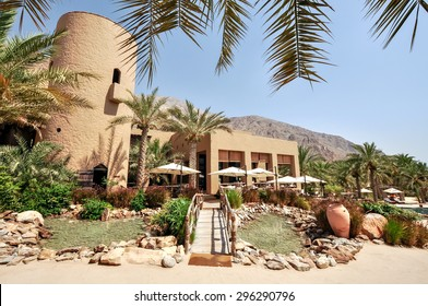 Sultanate of Oman - March 25,2013 - Six Senses Zighy Bay Mountain Resort, tallest tower in the area. Wonderful place to stay for your holiday in Oman.