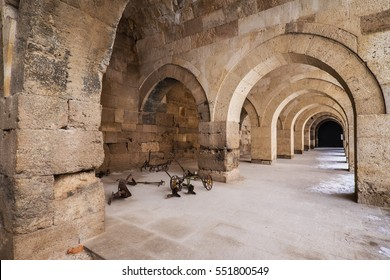 Sultanhani Caravanserai, Konya, Turkey. Merchant meeting place in old days. Photograph from inside interior with some remaining equipments.