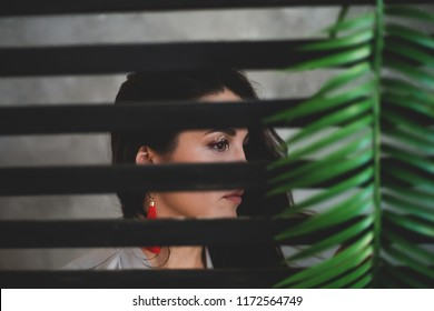 Sultry girl. Business portrait. Tropical decoration. Green leaves. portrait through the window. Striped Wall.  girl behind bars, fencing. A dark room