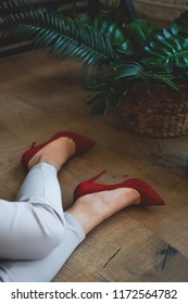 Sultry girl. Business portrait. Tropical decoration. Green leaves. comfortable and stylish shoes. feet in shoes. Red shoes.