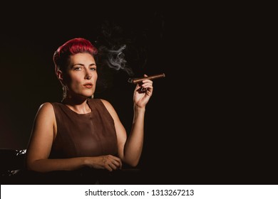 Sultry woman with fuchsia hair holding a cigar