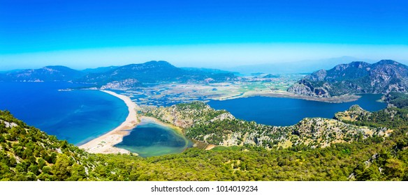 Sulungur Lake and Iztuzu Beach view from hill in Dalyan Village of Mugla Province