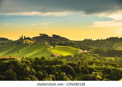 Sulztal, Gamlitz, Leibnitz, Styria / Austria - 13 june 2018, Slovenia border Vineyards Sulztal area south Styria , wine country path to heart shaped street tourist spot