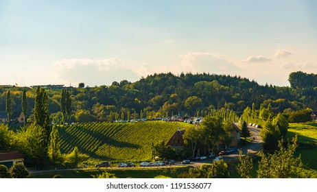 Sulztal, Styria / Austria - 17 September 2018: Vineyards Sulztal famous destination wine street area south Styria , wine country in summer. Tourist destination. Green hills and crops of grapes.