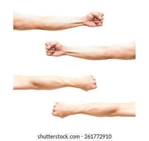 sum 4 pic of Arm in fist action on white background