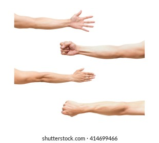 sum 4 pic of Arm in fist action on white background,include clipping path