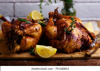 SUMAC ROAST CHICKEN WITH LEMON AND GARLIC..style rustic.selective focus
