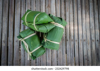 Suman on bamboo background ,yummy of Thai people