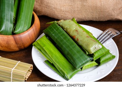 Suman pinipig with buko latik