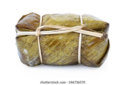 Suman, sticky rice stuffed with bananas, Isolated on white background