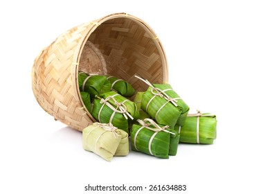 Suman, sticky rice wrapped in banana Thai appetizer