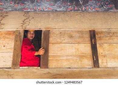 SUMATRA - DECEMBER 5: Batak people of Samosir Island perform their traditional dance on December, 2018 in Sumatra, Indonesia. Batak represent a number of ethnic groups of North Sumatra, Indonesia.