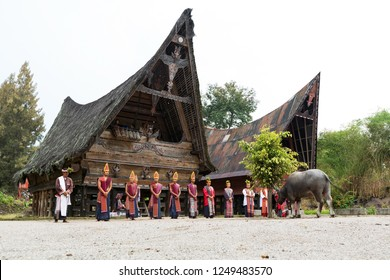 SUMATRA - DECEMBER 5: Batak people of Samosir Island perform their traditional dance on December, 2018 in Sumatra, Indonesia. Batak represent a number of ethnic groups of North Sumatra, Indonesia.