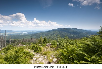 The sumava mountains from the top mount Plechy