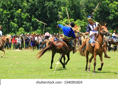 Sumba, East Nusa Tenggara, Indonesia. 01 March 2013. Pasola, a mounted spear-fighting competition from western Sumba. It is played by throwing wooden spears at the opponent while riding a horse.