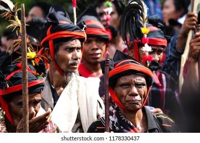 SUMBA, INDONESIA - FEBRUARY 8, 2018: Rato, Sumba traditional spiritual leader