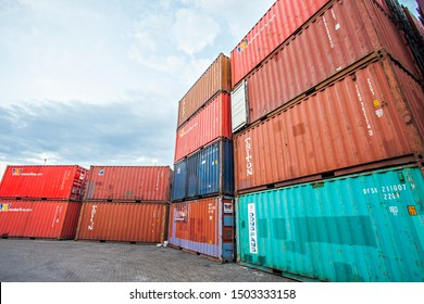 Sumbawa, Indonesia : Stack of Industrial Container yard for Logistic Import Export business in Labuan Badas Harbour, Sumbawa, West Nusa Tenggara, Indonesia (08/2018).