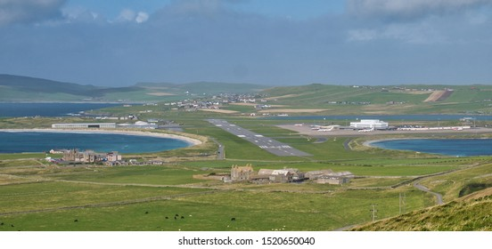 Sumburgh, UK - September 11, 2019: Sumburgh Airport in Shetland from Sumburgh Head - this is the main airport in Shetland and is at the most southerly point of the islands.