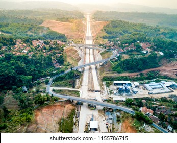 Sumedang, West Java / Indonesia - August 09th 2018: Zigzag Road Above Cisumdawu Toll Road Near Cisumdawu Tunnel Construction (Bandung to Cirebon)