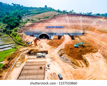 Sumedang, West Java / Indonesia - August 09th 2018: Aerial View of Cisumdawu Tunnel Toll Road Under Construction (Bandung to Cirebon)