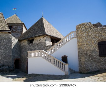 SUMEG, HUNGARY - JULY 23,  2013: Interior of medieval Sumeg Castle located 20 kilometers west of Lake Balaton in Hungary.