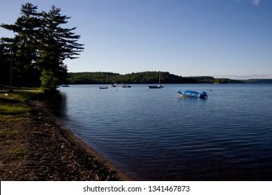 Sumer Afternoon Boats on the Lake in Muskoka, Ontario Canada