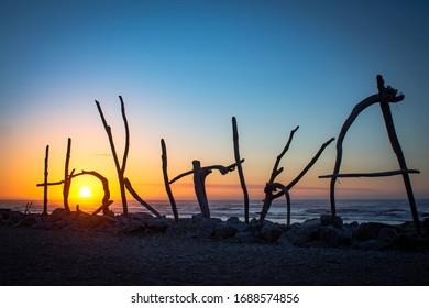 Sumer sunset at Hokitika Beach, New Zealand