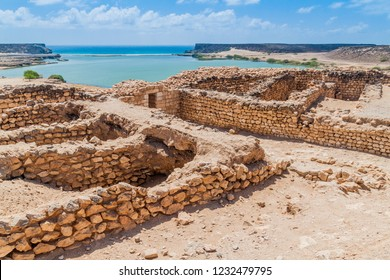Sumhuram Archaeological Park with ruins of ancient town Khor Rori near Salalah, Oman