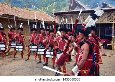 Sumi Ki Nagas practicing their tribal war dance 'Aphilo Kuwo' during the 19th Hornbill Festival 2018 at the Kisama heritage village, Kohima, Nagaland on 3rd december 2018""