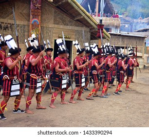 """Sumi Ki"" nagas practising their war dance ( Aphilo Kuwo) during 19th Hornbill festival 2018 at Kisama heritage village, Kohima, Nagaland on 3rd december 2018"