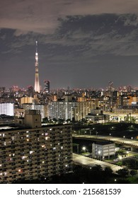 "SUMIDA, TOKYO - AUGUST 11, 2014: From August 11 to 17, Tokyo Skytree presents special illuminations named ""AGAIN"" and ""HAPPY"" produced by Japanese musical duo ""Dreams Come True""."