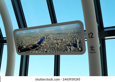 Sumida, Tokyo/ Japan - January 3, 2017 : Tokyo Skytree, the map of Tokyo landmarks in the north.    Tokyo Skytree, one of the most popular tourists attractions.