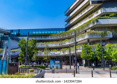 """SUMIDA, TOKYO / JAPAN - MAY 23 2019 : Scenery of """"Tokyo Solamachi"""". Many tourists visit the commercial facilities adjacent to Skytree."""