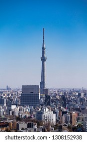 Sumida, Tokyo, Japan-January 24, 2019: Tokyo Skytree: Tokyo Skytree is a broadcasting, restaurant and observation tower.