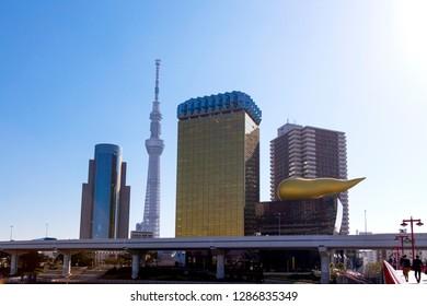 Sumida, Tokyo, Japan-October 25, 2018: Asahi beer headquarters, Sumida City Hall and Tokyo Sky Tree