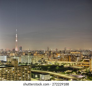 SUMIDA, TOKYO - JUNE 15, 2014: Tokyo Skytree photographed at night from Edogawa Ward in Tokyo. Height: 634m, The tallest tower in the world. Anti seismic structure with the latest technology.