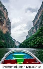 Sumidero canyon view from the boat. National Park in Chiapas, Mexico.