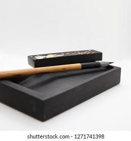 sumi-e, pencil and suzuri