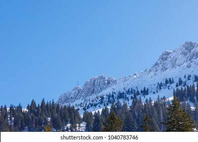 sumit cross of Moutain Kampenwand, view from north, Bavaria, Germany