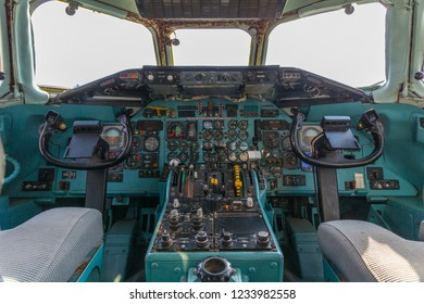 Summa Lombardo VA, Italy, May 2018 - Old analog  cockpit of an MD 80 airliner airplane  - the cockpit is displayed in the Volandia museum at Milan Malpensa Airport