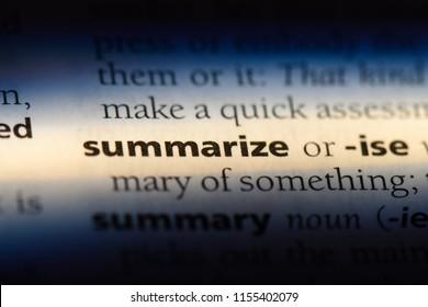 summarize word in a dictionary. summarize concept.