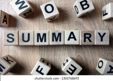 Summary word from wooden blocks on desk