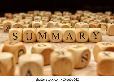 SUMMARY word written on wood block