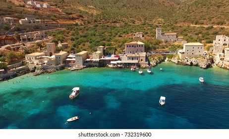 Summer 2016: Aerial birds eye view photo taken by drone of famous village of Limeni, Peloponnese, Greece