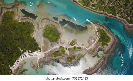 Summer 2017: Aerial birds eye view photo taken by drone depicting beautiful deep blue -  turquoise water tropical exotic islands