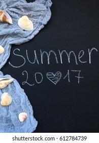 Superior Summer 2017. Love Summer. Hello Summer. Sea Shells On Blue Rustic Textile.
