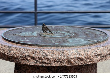 A Summer 2019 photo I took of a decorative shoreline Sundial. Located at the Brockville Municipal Harbour, Brockville, Ontario, Canada.