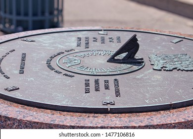 A Summer 2019 photo I took of a shoreline Sundial. Located at the Brockville Municipal Harbour, Brockville, Ontario, Canada.